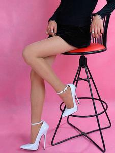 Zapatos atractivos blancos punta estrecha tacón de aguja correa de tobillo bombas mujeres tacones altos