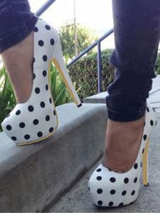 Mujer con Plataforma Tacones Blanco Almendra Polka Punto Impreso de Tacón Altos Vintage Zapatos 2020