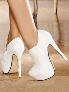 Белые короткие сапоги Платформа Миндаль Пряжка Деталь Высокие каблуки для женщин