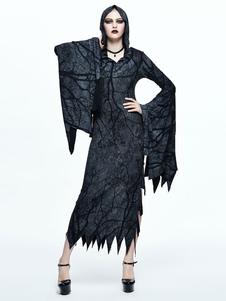 Женские готические платья Хэллоуин костюм с длинным рукавом сплит с капюшоном