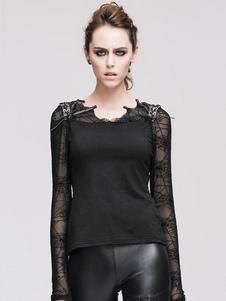 Disfraz Carnaval Gothic Top Halloween Costume Mujeres Negro manga larga Spider Web Patchwork camiseta Carnaval