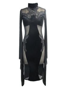 Disfraz Carnaval Vestidos góticos Vestido de Halloween Vestido ajustado de manga larga de mujer negro Carnaval