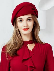 Chapéu de lã Retro Boina Chapéu Mulheres Borgonha Cap Arcos Headpieces Vintage