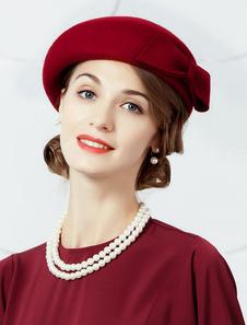 Disfraz Carnaval Gorro de lana Sombrero de boina retro Gorra de mujer Borgoña Vintage Headpieces Carnaval