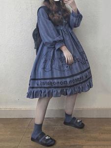 الكلاسيكية لوليتا المرجع فستان العرائس الدب الكشكشة القطن الكتان الأزرق لوليتا اللباس قطعة واحدة