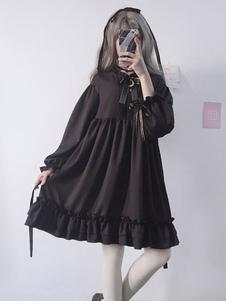 الكلاسيكية لوليتا المرجع فستان كشكش القوس الأسود لوليتا اللباس قطعة واحدة