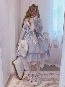 Sweet Lolita OP Vestido Alice No País Das Maravilhas Ruffle Lace Lolita Vestido De Uma Peça