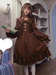Классическое платье Lolita OP Платье из орехового латте из лука Rillle Frill Lolita One Piece Dress