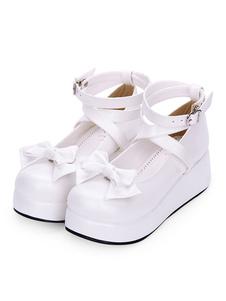 Sweet Lolita Pumps Bow Strappy Platform Blanco Lolita Zapatos