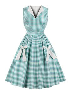 Vestido Vintage xadrez 1950s mangas arcos botões vestido de festa