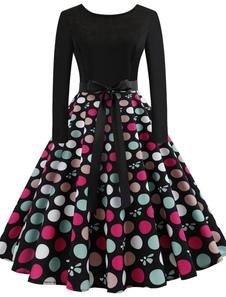 Vestido vintage das mulheres 1950s Swing Dress Impresso Long Sleeve Retro Dress