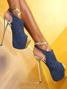 de Tacón Alto Botines 2020 Deep Azul con Plataforma  Peep Punta Zapatillas Abiertas Cielo Alto Sexy Zapatos Para Mujer