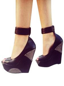 Zapatos de cuña negros mujer Peep Toe tobillo correa bombas