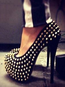 Negro Sexy Zapatos 2020 Mujer con Plataforma  Almendra con Remaches de Tacón Altos