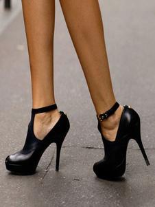Черные высокие каблуки Peep Toe Платформа лодыжки ремень Насосы плюс размер Женская обувь