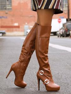 Коричневые бедро высокие сапоги женщины миндальной пряжки Подробнее Высокий каблук над сапогами колена