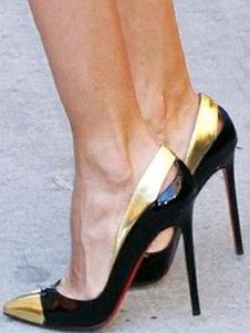 Mulheres de salto alto preto vestido sapatos apontou Toe Slip On Pumps