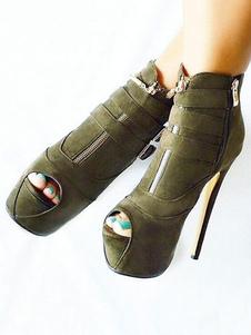 botines mujer verde oscuro de tacón de stiletto de punter Peep Toe 16cm Piel sintética Verano Primavera Color liso estilo street wear