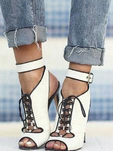 Stivaletti alla caviglia bianchi Donna Sandali a tacco alto con lacci a punta aperta