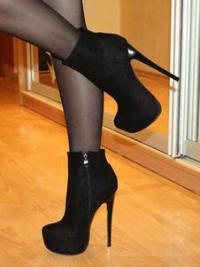 Negro Botines 2020 Ante con Plataforma  Almendra Cremallera Arriba de Tacón Alto Botines Mujer Sexy Zapatos