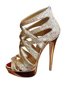 Zapatos de noche dorados Glitter punta abierta con tiras de tacón alto Zapatos de fiesta Zapatos de sandalias