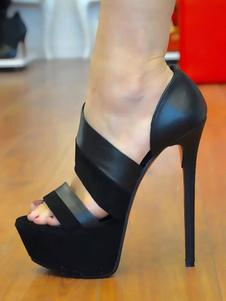 Sandalo con tacco alto Sandalo aperto con patchwork per le donne