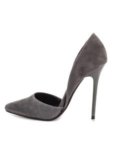 Zapatos de vestir de mujer de tacón alto de color gris con tachuelas en punta