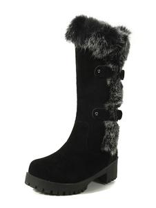 con pala de gamuza de puntera redonda botas altas mujer 5cm botas altas negras de tacón gordo negro  de piel sintética estilo street wear