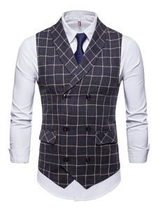 Homens Terno Colete Plus Size Colete xadrez Xale Lapela Dupla Breasted Bolso Tuxedo