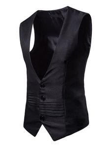 Мужская талия V V Шея Одноместный нагрудный карманный Ruched Хлопок костюм жилет