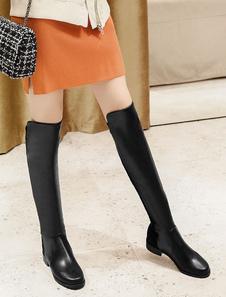 Черные женские сапоги с длинными носками