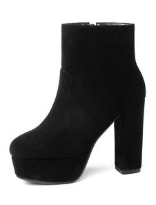 Ankle Boots de camurça Mulheres apontou Toe Rhinestones botas de salto alto