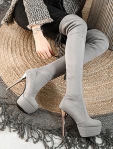 رمادي مثير أحذية نسائية منصة الدانتيل يصل الفخذ أحذية عالية الكعب العالي تمتد فوق الركبة الأحذية2020