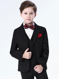 Костюм для мальчиков с бриллиантами для мальчиков Свадебные костюмы из черного смокинга Формальная одежда 5 шт.