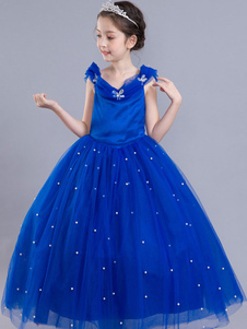 Vestidos de Cenicienta Niñas Royal Blue Flower Girl Dress Princesa Beaded Kids Pageant Vestido de fiesta