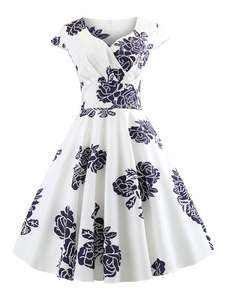 Vestido retro blanco vintage manga casquillo plisado floral retro vestido