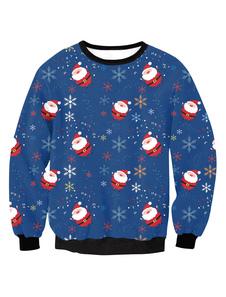 البلوز المرأة الأزرق عيد الميلاد طباعة جولة عنق طويل الأكمام السترة الأعلى