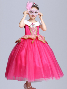 Costume Carnevale per Bambini Principessa Aurora Costume Halloween Bambini Cosplay Dress Sleeping Beauty Disney Rose Bambina Abiti Costume Carnevale