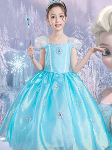Костюм Elsa Halloween Kids Cosplay Dress Little Girls Frozen Blue Dresses