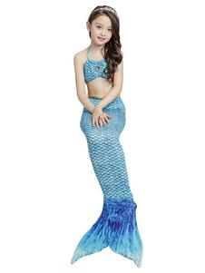 Disfraz de niños Carnaval Bikini de sirena con traje de baño para niñas, 3 piezas Disfraz Carnaval