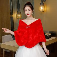 Envoltório da pele do falso casamento xaile vermelho inverno capa de noiva