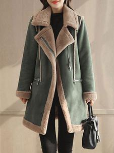 المرأة معطف من جلد الغزال فو الفراء طوق معطف Shearling البريدي جيوب معطف الشتاء