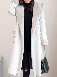 المرأة من جلد الغزال معطف بوم بومس جيوب فو الفراء بطانة معطف الشتاء مقنعين