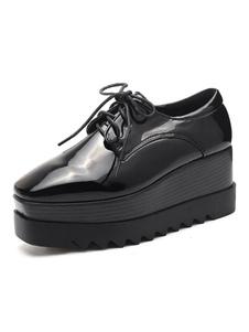 Zapatos con cordones de plataforma con tacón de cuña de oxfords negros Zapatillas de deporte con punta cuadrada para mujer
