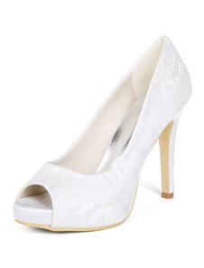 أحذية الزفاف العاج الرباط اللمحة تو أحذية عالية الكعب أم العروس