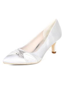 بيربل الأم من أحذية العروس بالاضافة الى حجم الساتان وأشار تو أحجار الراين هريرة كعب حذاء الزفاف