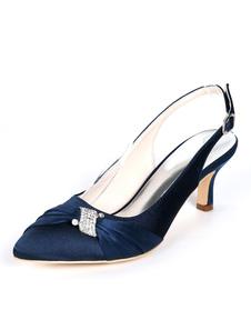 Zapatos de novia de satén 6cm Zapatos de Fiesta Zapatos Azul marino oscuro de puntera puntiaguada Zapatos de boda con pedrería