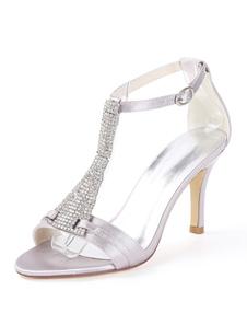 Sapatos De Casamento De cetim Branco Do Dedo Do Pé Aberto Strass T Tipo Sapatos Do Vintage Das Mulheres de 1920 Salto Alto Sandálias