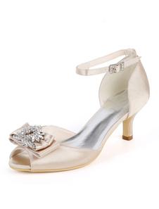 الساتان أحذية الزفاف زقزقة اصبع القدم القوس بالاضافة الى حجم الأم من أحذية العروس هريرة كعب حذاء الزفاف