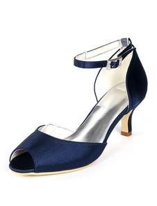 Cetim Convidado Do Casamento Sapatos Peep Toe Plus Size Gatinho Salto Mãe Da Noiva Sapatos